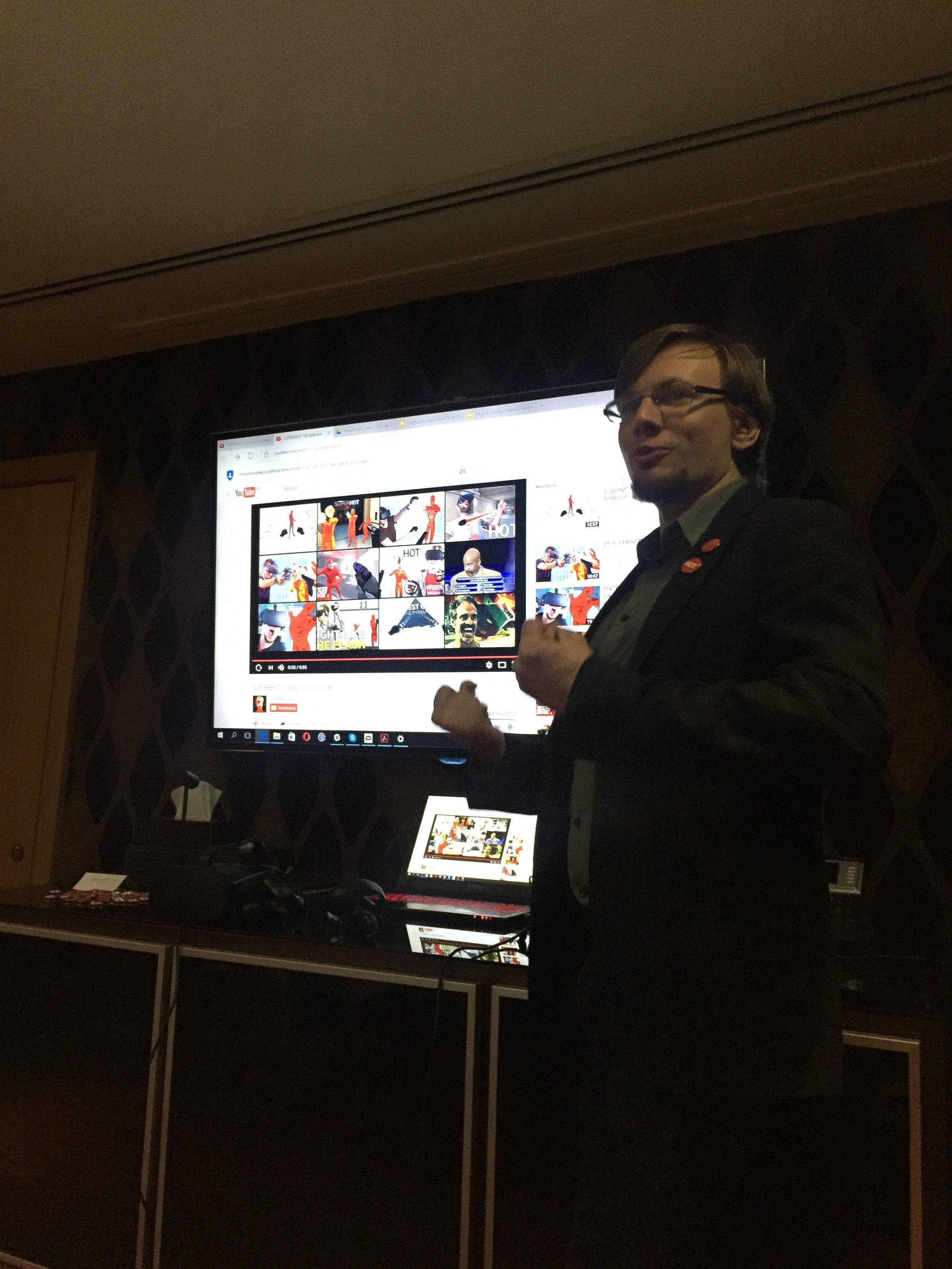 Our Keynote Speaker: Tomasz Kaczmarczyk, talking passionately about SUPERHOT with Oculus Rift.